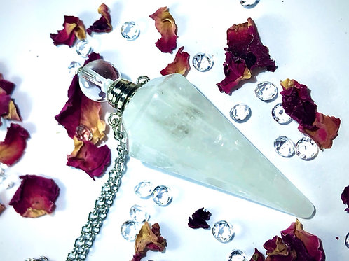 Pendentif flacon en cristal de roche