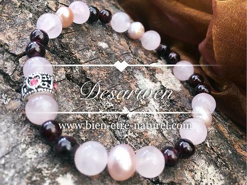 Bracelet Grenats Quartz Roses et Nacres