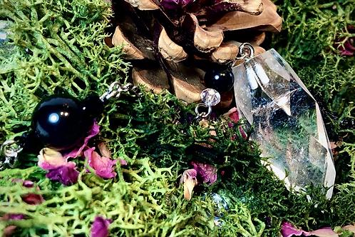 Pendule cristal de roche et obsidienne céleste