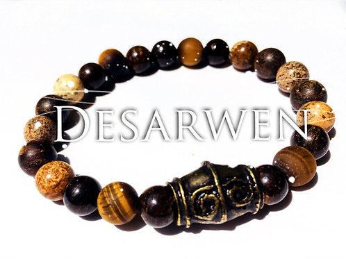 Bracelet Œil de tigre, bronzite, jaspe paysage