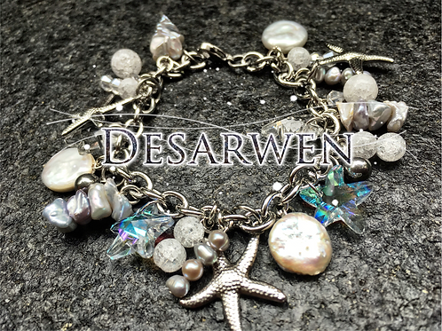 Bracelet breloque cristal et nacre