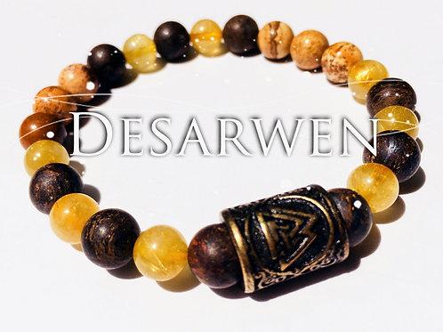 Bracelet Quartz Rutilés, bronzite et jaspe paysage