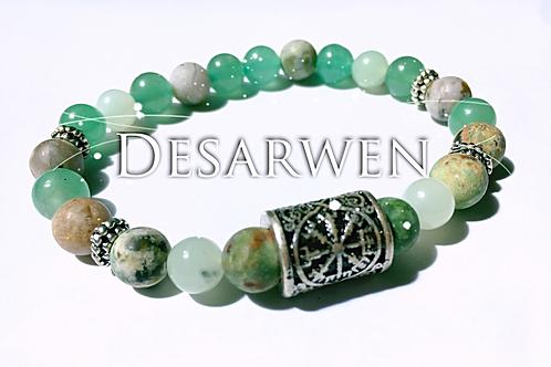 Bracelet Vegvisir aventurine & opales