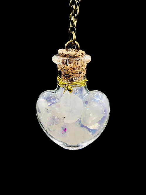 Fiole Talisman Harmonisante purifiante  pierre de lune  cristal