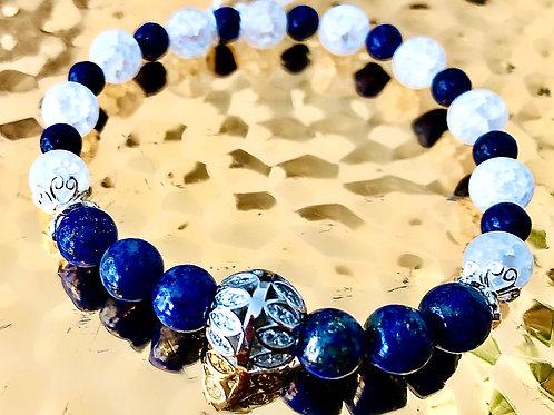 Bracelet cristal de roche, lapis lazuli et argent 925