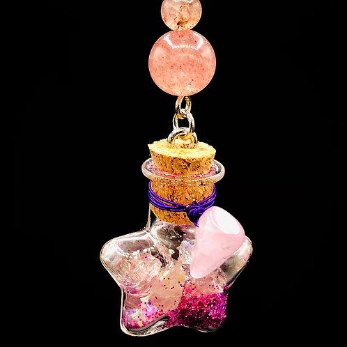 Fiole Talisman kunzite quartz rose et fraise