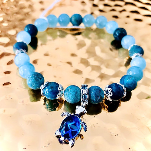 Bracelet aigue marine quartz et apatite, argent 925