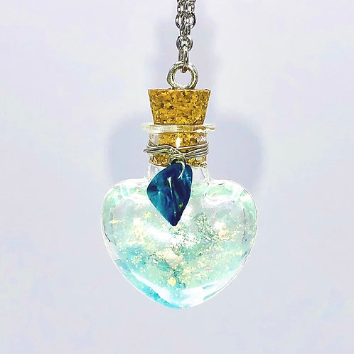 Fiole Talisman cyanite aigue marine lapis lazuli