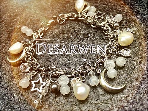 Bracelet breloques nacres cristal et pierre de lune