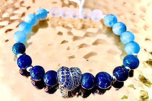 Bracelet cristal de roche, angelite, lapis lazuli et aigue marine, argent 925