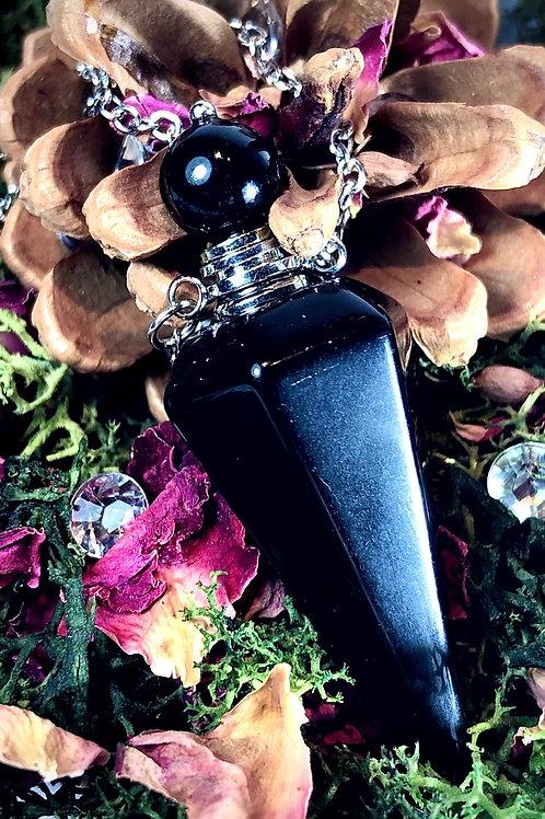 Pendentif flacon en agate noire
