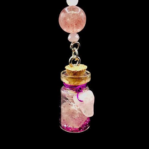 Fiole Talisman grenat quartz rose & fraise