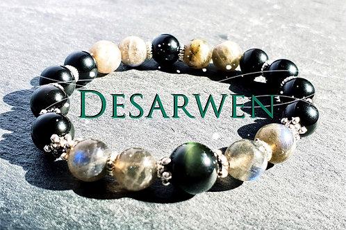 Bracelet obsidienne céleste, labradorites