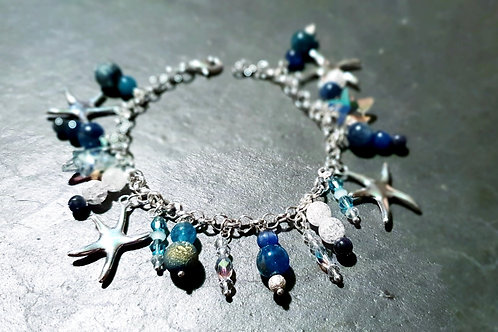 Bracelet méditation cyanite apatite cristal sodalite argent 925