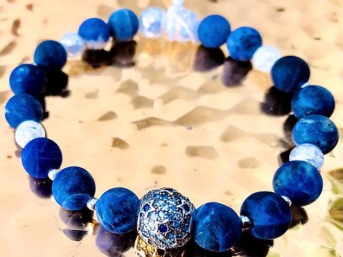 Bracelet cristal de roche,sodalites, argent 925