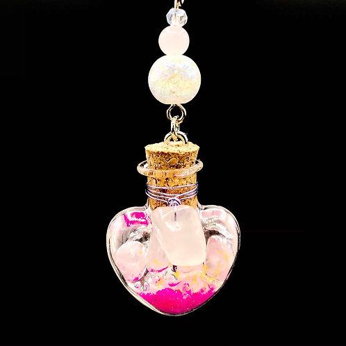 Fiole Talisman cristal quartz rose