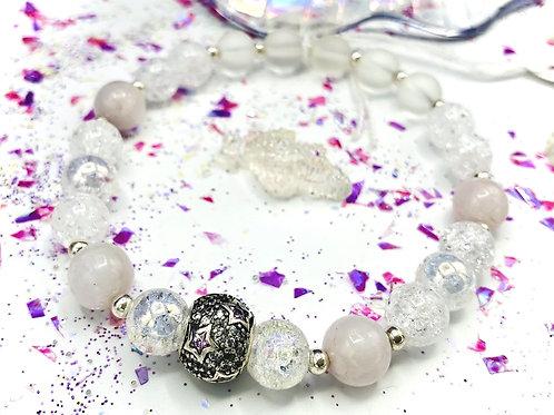 Bracelet cristal de roche, kunzite et argent 925
