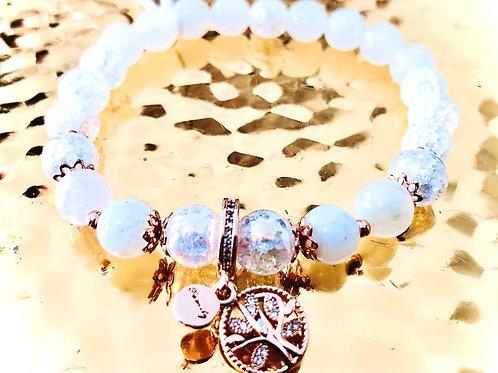 Bracelet cristal pierre de lune et argent 925 rose