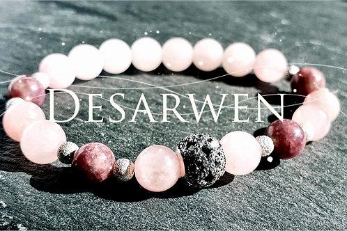 Bracelet quartz rose et charoite, argent 925