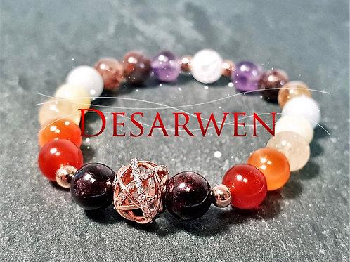 Bracelet 7 chakras et plaqué or rose