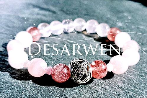 Bracelet quartz roses, fraises et argent 925