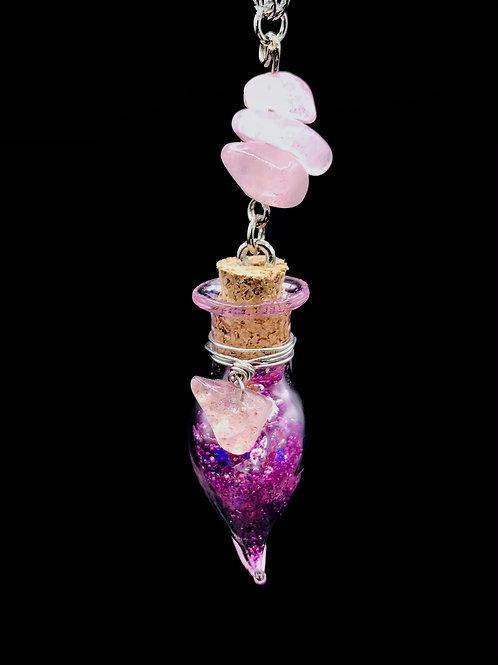 Fiole Talisman quartz fraise et kunzite