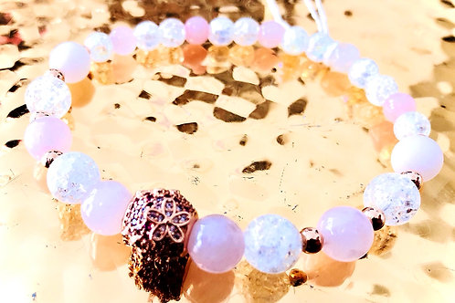 Bracelet cristal quartz rose et argent 925 rose