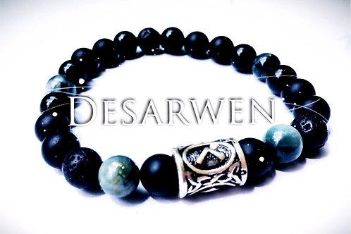 Bracelet onyx, pierre de lave & oeil d'aigle