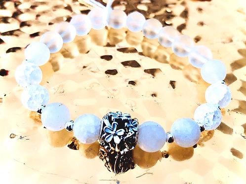 Bracelet calcedoine, cristal  et argent 925
