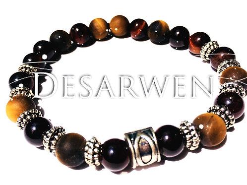 Bracelet onyx, Œil de tigre et Œil de taureau