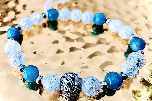 Bracelet cristal de roche et angelite, argent 925