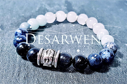 Bracelet Œil de faucon, Sodalite, aigue marine, Jade blanc