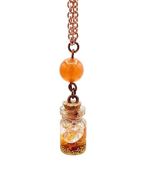 Fiole  aventurine orange quartz à rutiles et ambre