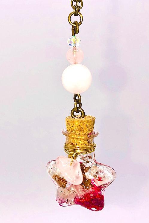 Fiole Talisman quartz rose kunzite et cristal