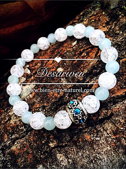 Bracelet Cristal de Roche et Aigue Marine