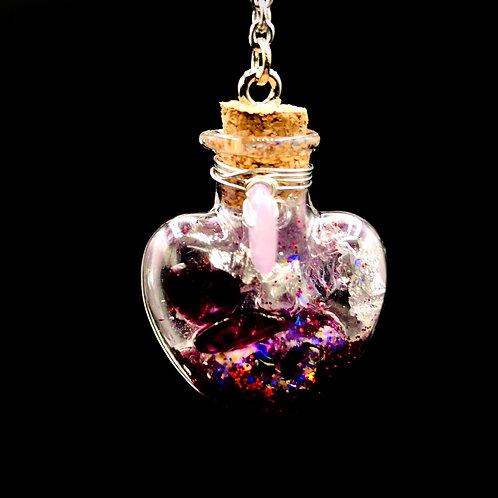 Fiole Talisman grenat quartz rose