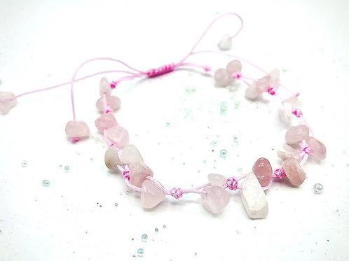 Bracelet tressé quartz rose