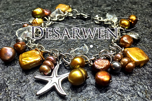 Bracelet breloques nacres et cristal de roche