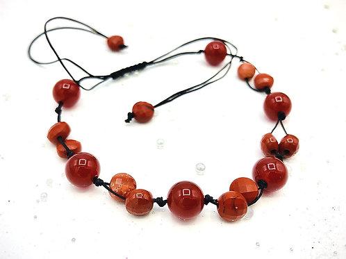 Bracelet tressé cornaline et jaspe rouge