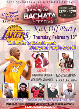 La Lakers tribute at the pre party of the Los Angeles Bachata Festival