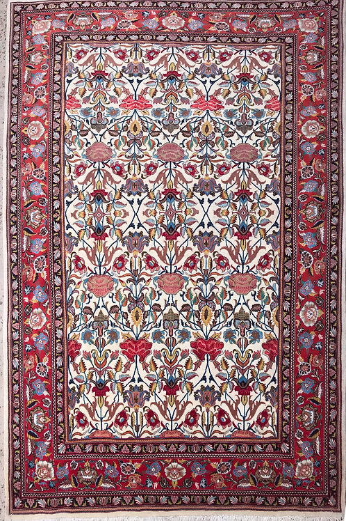 Tabriz Floral Wool and Silk  4.6' x 7.2'