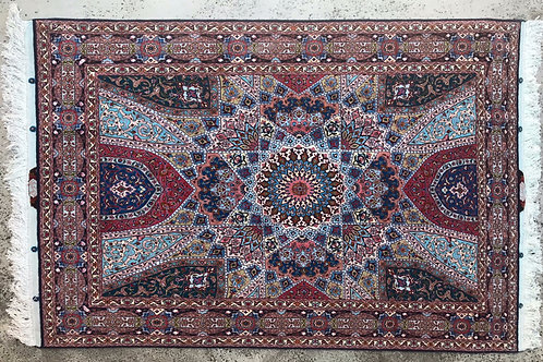Isfahan Silk and Wool Signed 4' x 6'