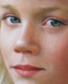 realistisch schilderij Debora Makkus portret detail ogen, realistic portrait painting eyes