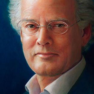 portret man geschilderd door Debora Makkus, portrait painting man with glasses
