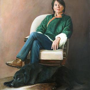 portret dame met hond geschilderd door Debora Makkus, portrait painting lady with dog