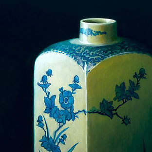 schilderij Debora Makkus Arita I, jeneverfles porselein, painting japanese porcelain