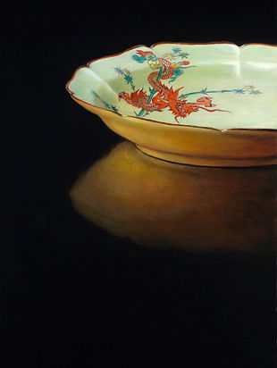 schilderij Debora Makkus, Arita IV, porselein Rijksmuseum bord draak, painting porcelain plate red dragon