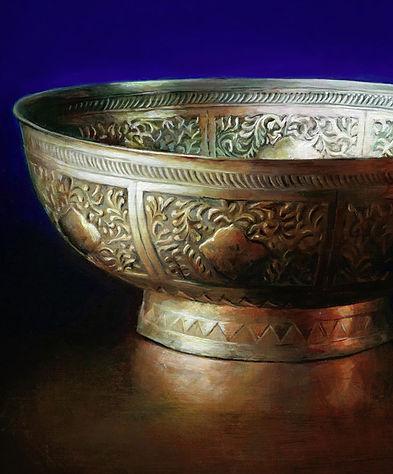 schilderij Debora Makkus Treasures X, zilveren schaal yogya-zilver, painting silver bowl