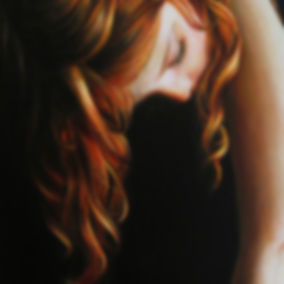 Schilderij Debora Makkus Sow meisje rood haar, painting red hair
