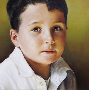 portret jongen geschilderd door Debora Makkus, portrait painting boy